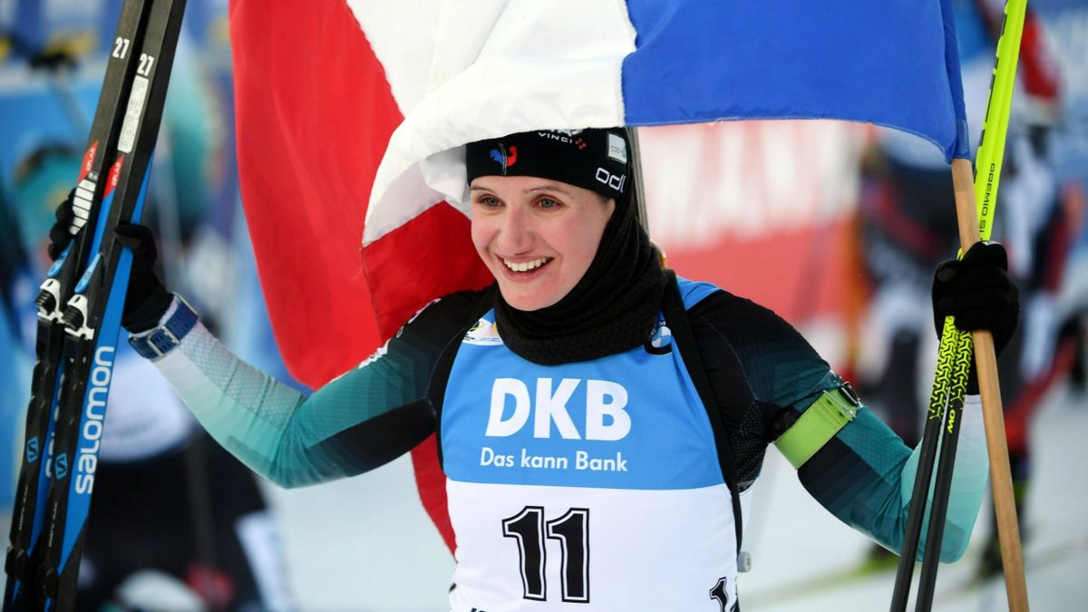 Julia Simon (France), vainqueure de la poursuite dames de Kontiolahti 2020