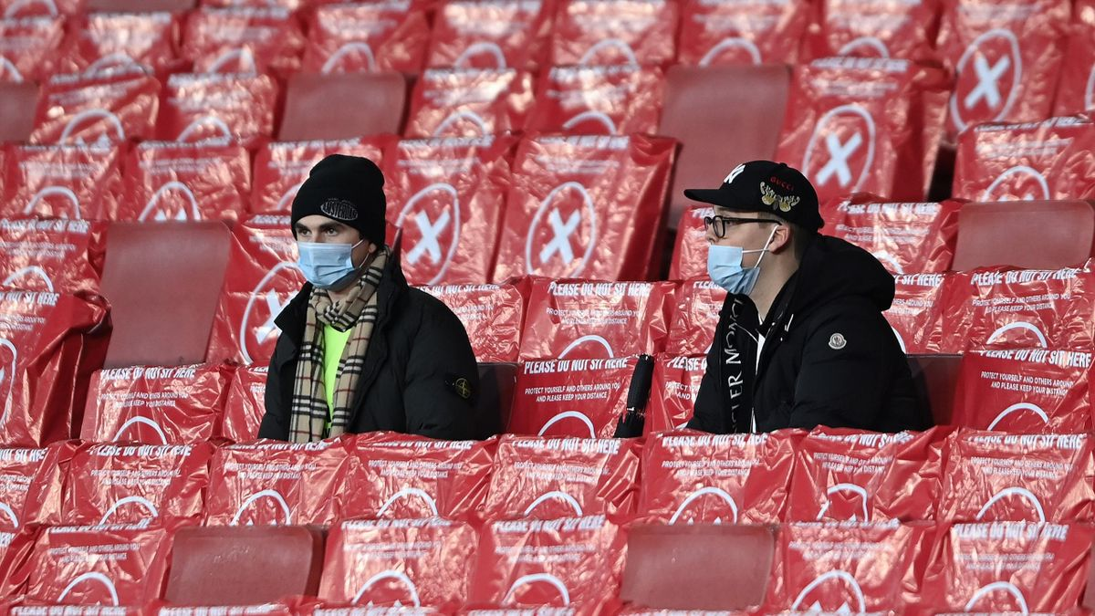 Arsenal fans in the stands for their match against Rapid Wien