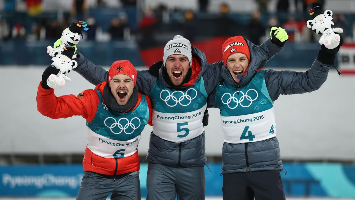 Olympia 2018: Johannes Rydzek, Fabian Riessle und Eric Frenzel holen Gold, Silber und Bronze in der Nordischen Kombination