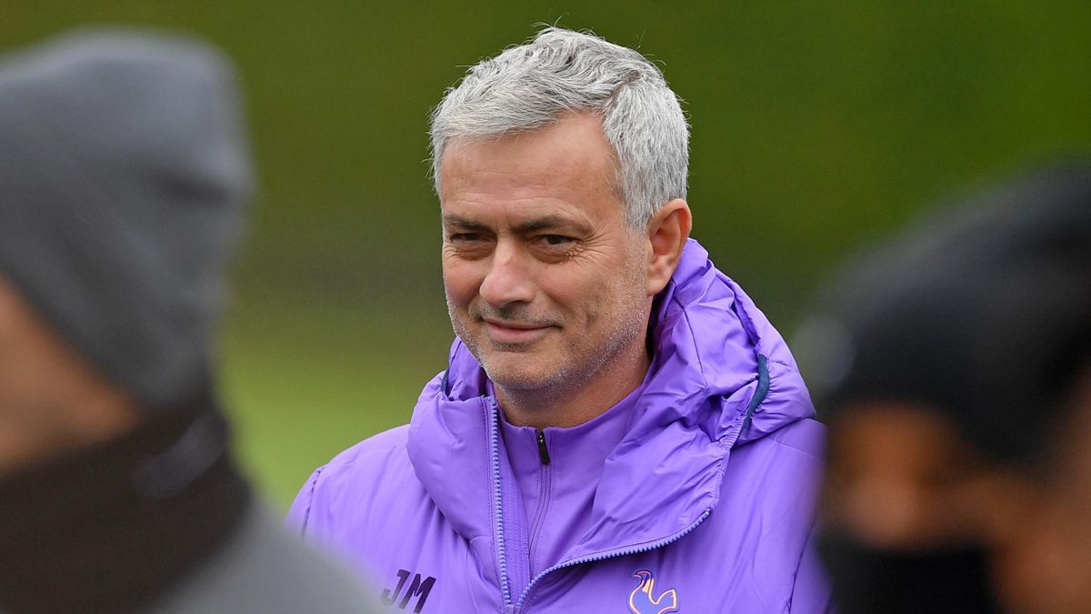 Tottenham Hotspur's Portuguese head coach Jose Mourinho smiles as he takes a team training session at Tottenham Hotspur's Enfield Training Centre, in north London on November 25, 2019, ahead of their UEFA Champions League Group B football match against Ol
