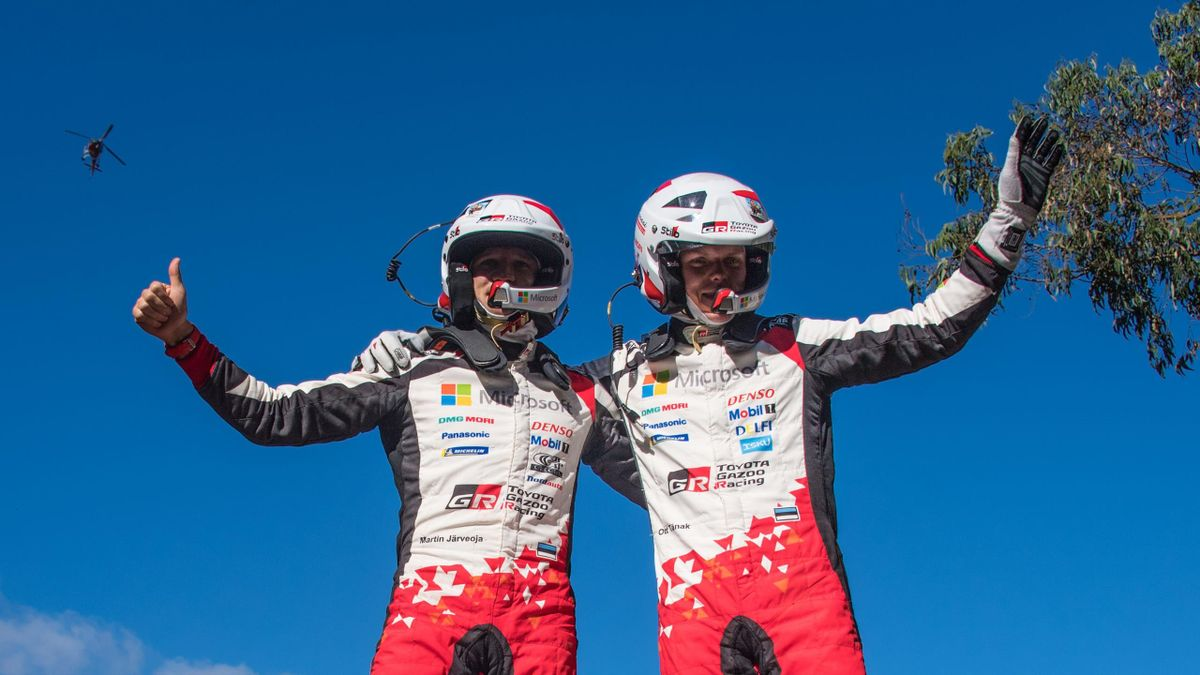 Estonia's Driver Ott Tanak (R) and his compatriot co-driver Martin Jarveoja (L) celebrate winning the WRC Chile 2019 in Concepcion, Chile on May 12, 2019