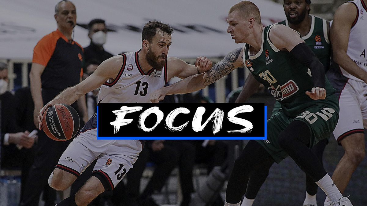 Aaron White, #30 of Panathinaikos Opap Athens competes with Sergio Rodriguez, #13 of AX Armani Exchange Milan during the 2020/2021 Turkish Airlines EuroLeague Regular Season Round 33 match between Panathinaikos Opap Athens and AX Armani Exchange Milan at