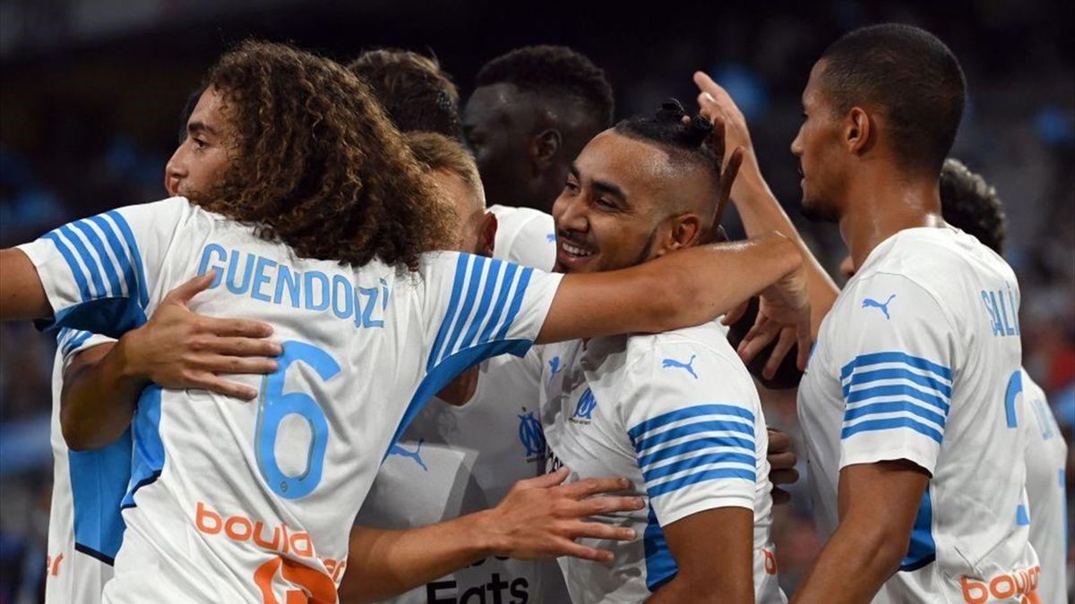 Dimitri Payet après son but lors de Marseille - Villarreal le 31 juillet 2021
