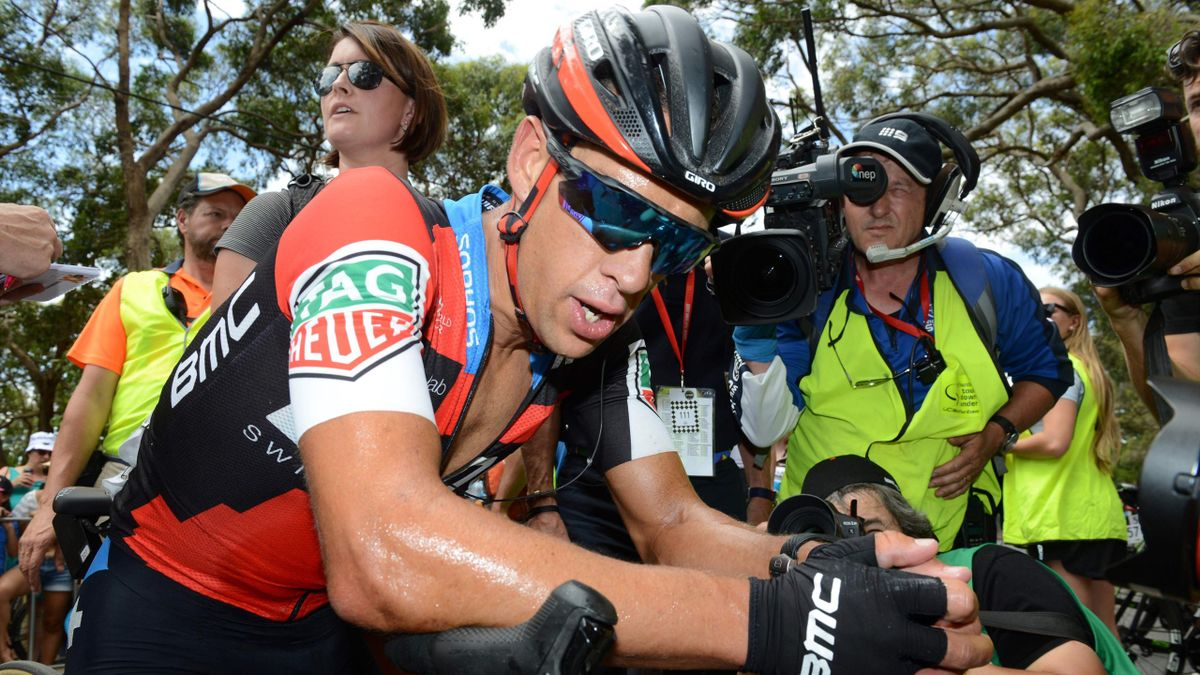 BMC rider Richie Porte of Australia reacts after winning stage 5 on the fifth day of the Tour Down Under cycling race in Adelaide on January 20, 2018.