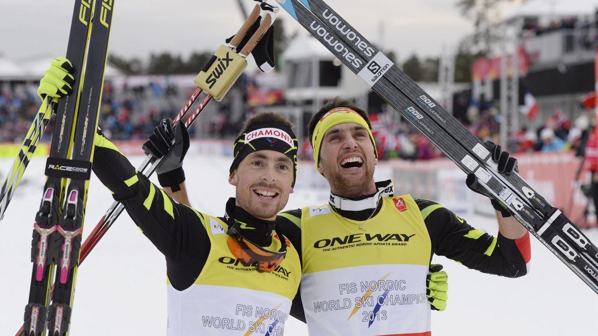François Braud et Jason Lamy-Chappuis après leur titre sur le sprint