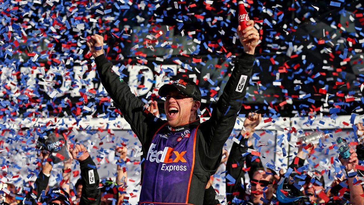 Denny Hamlin celebrates Daytona 500 victory
