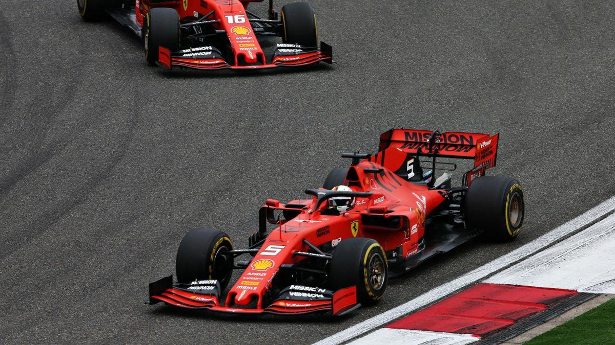 Sebastian Vettel et Charles Leclerc (Ferrari) au Grand Prix de Chine 2019