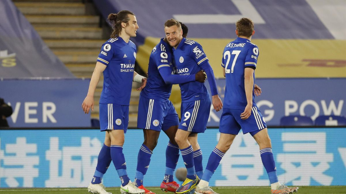 Kelechi Iheanacho of Leicester City celebrates with (L-R) Caglar Soyuncu, Jamie Vardy and Timothy Castagne after scoring their team's second goal during the Premier League match between Leicester City and Crystal Palace at The King Power Stadium on April