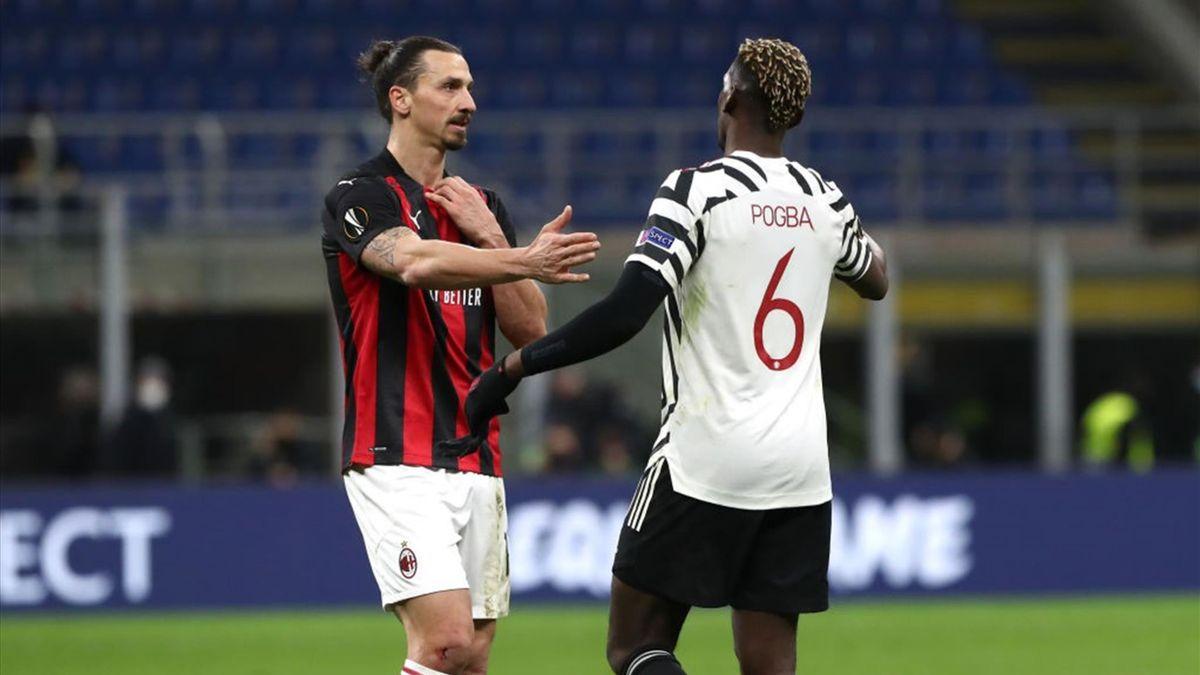 Zlatan Ibrahimovic e Paul Pogba - Milan-Manchester United Europa League 2020-21