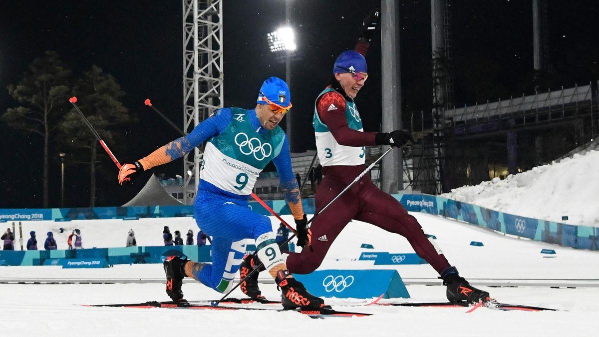 Italy's Federico Pellegrino (L) snatches silver and Russia's Alexander Bolshunov,