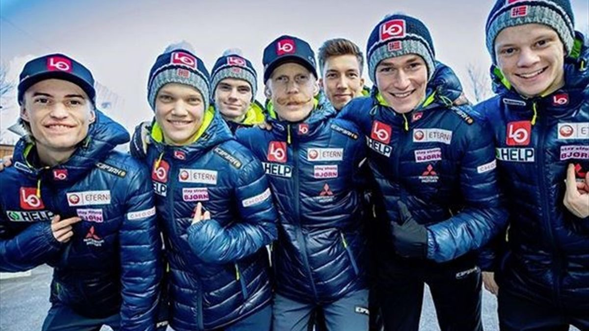 Das norwegische Skisprung-Team grüßt Björn Einar Romören (Instagram/hopplandslaget)