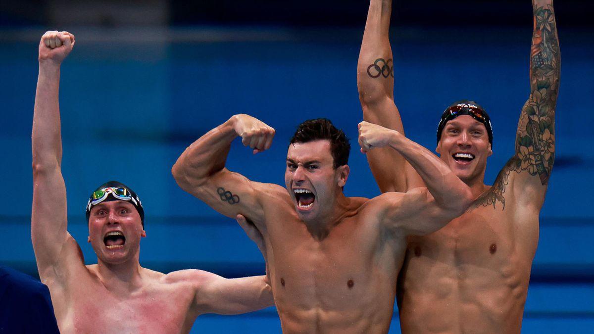 Le relais américain sacrés sur le 4x100m nage libre