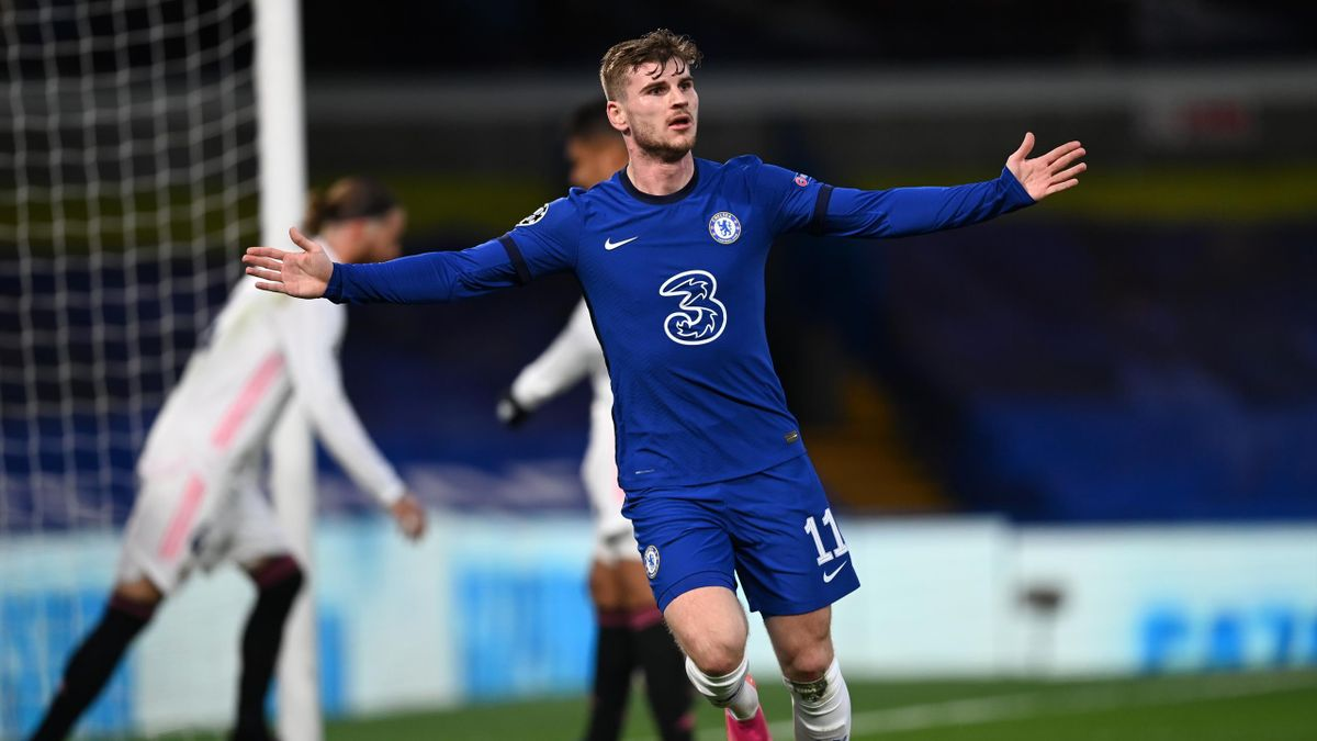 Timo Werner of Chelsea celebrates after scoring his team's first goal during the UEFA Champions League Semi Final Second Leg match between Chelsea and Real Madrid at Stamford Bridge on May 05, 2021 in London, England.