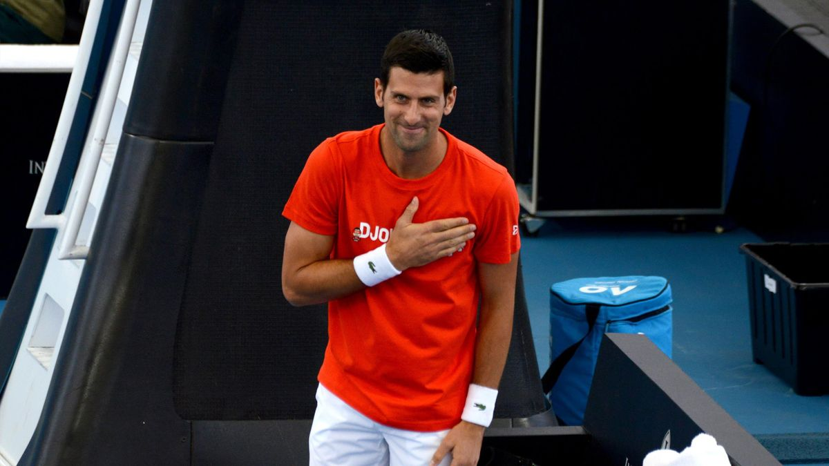 Novak Djokovic of Serbia acknowledges applauds from the crowd