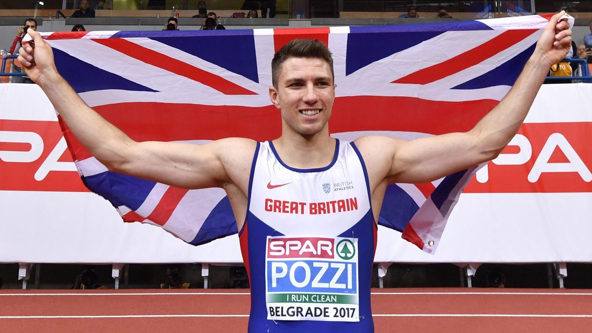 Britain's Andy Pozzi celebrates after winning the men's 60m hurdles final at the 2017 European Athletics Indoor Championships in Belgrade on March 3, 2017.