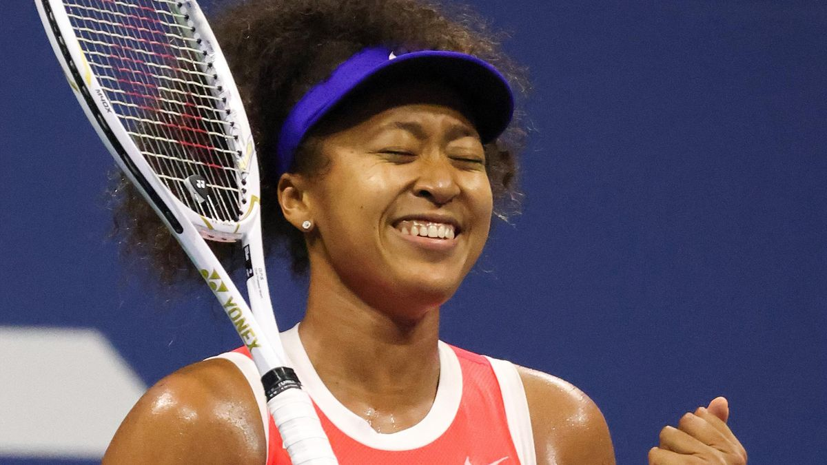 Naomi Osaka of Japan celebrates winning match point during her Women's Singles semifinal match against Jennifer Brady of the United States on Day Eleven of the 2020 US Open at the USTA Billie Jean King National Tennis Center