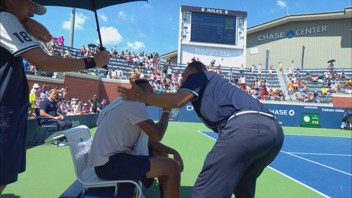 US OPEN : Kyrgios won the second vs Herbert set after a pep talk from the chair umpire Mo Lahyani