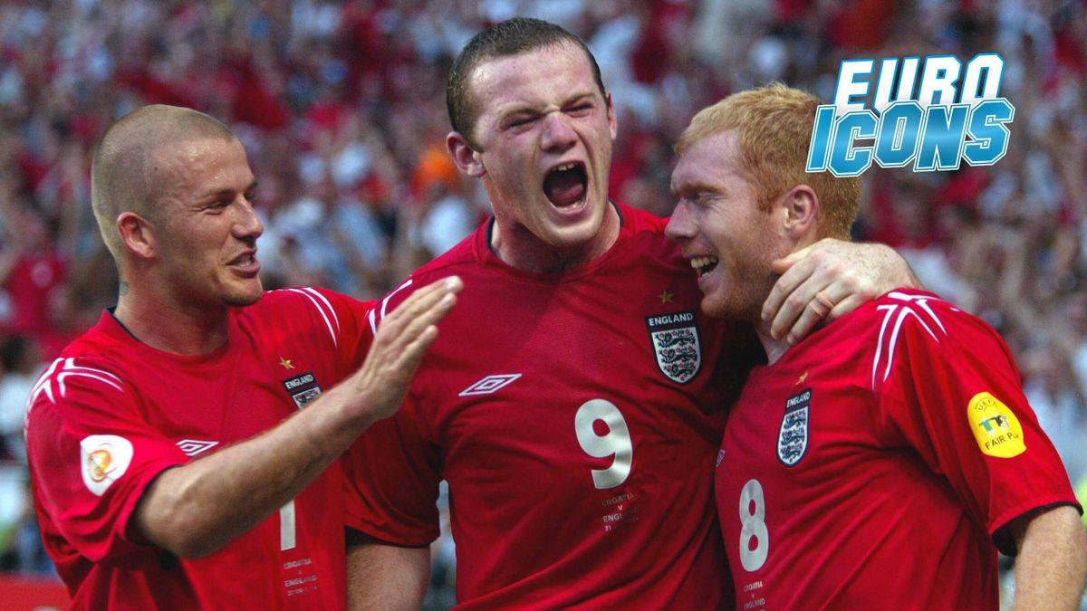 Wayne Rooney, David Beckham and Paul Scholes celebrate