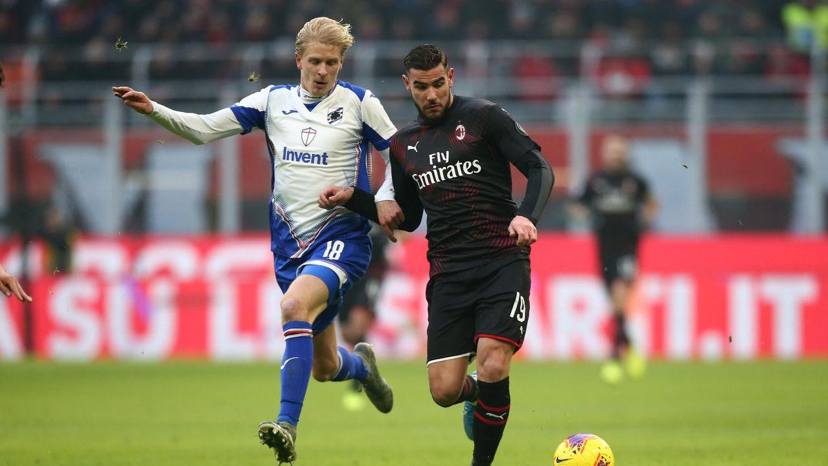 Theo Hernandez in un'azione di gioco con Morten Thorsby