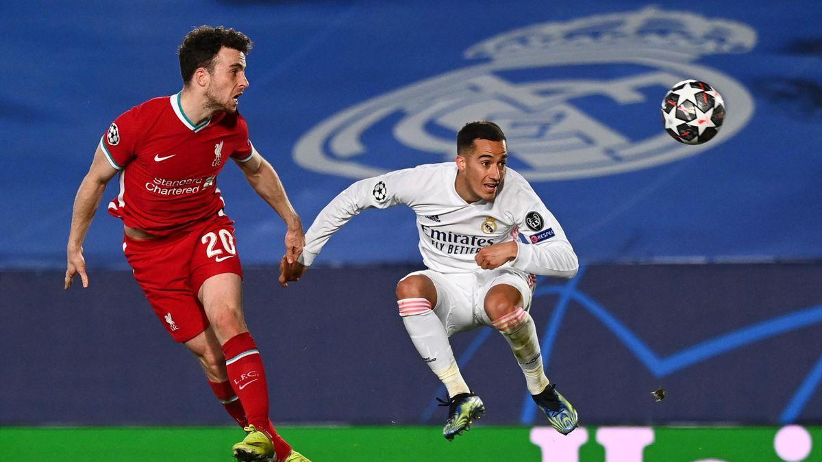 Diogo Jota (links; FC Liverpool) und Lucas Vásquez (Real Madrid)