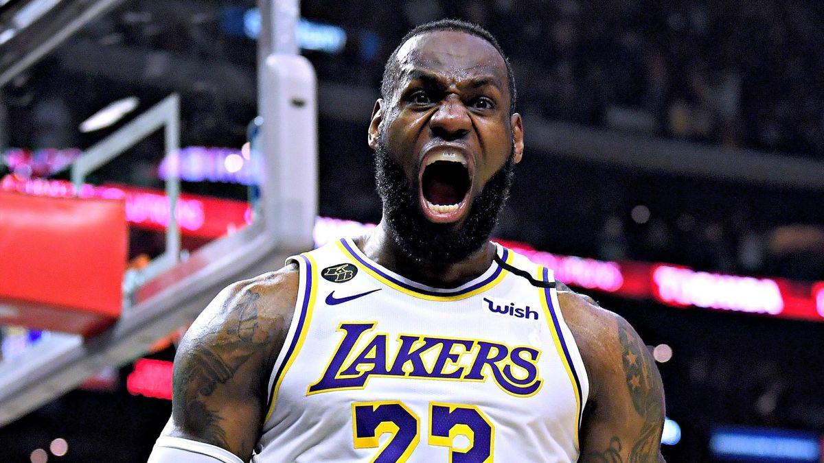 LeBron James (Los Angeles Lakers) lors de la victoire 103-112 face aux Clippers