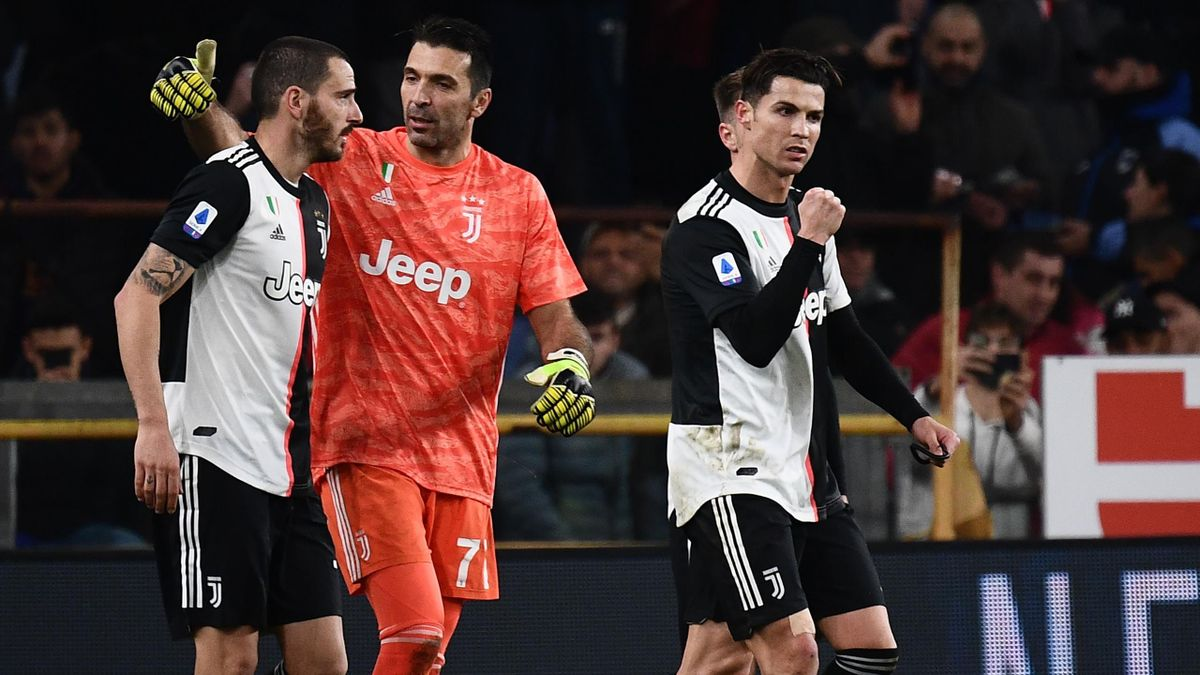Juventus Turin: Bonucci, Buffon und Ronaldo (v.l.n.r.)