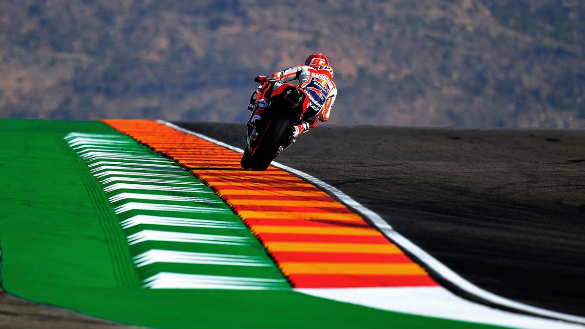 Repsol Honda's Spanish rider Marc Marquez rides during the MotoGP first free practice of the Aragon Grand Prix at the Motorland racetrack in Alcaniz, on September 20, 2019, ahead of the 2019 Aragon MotoGP