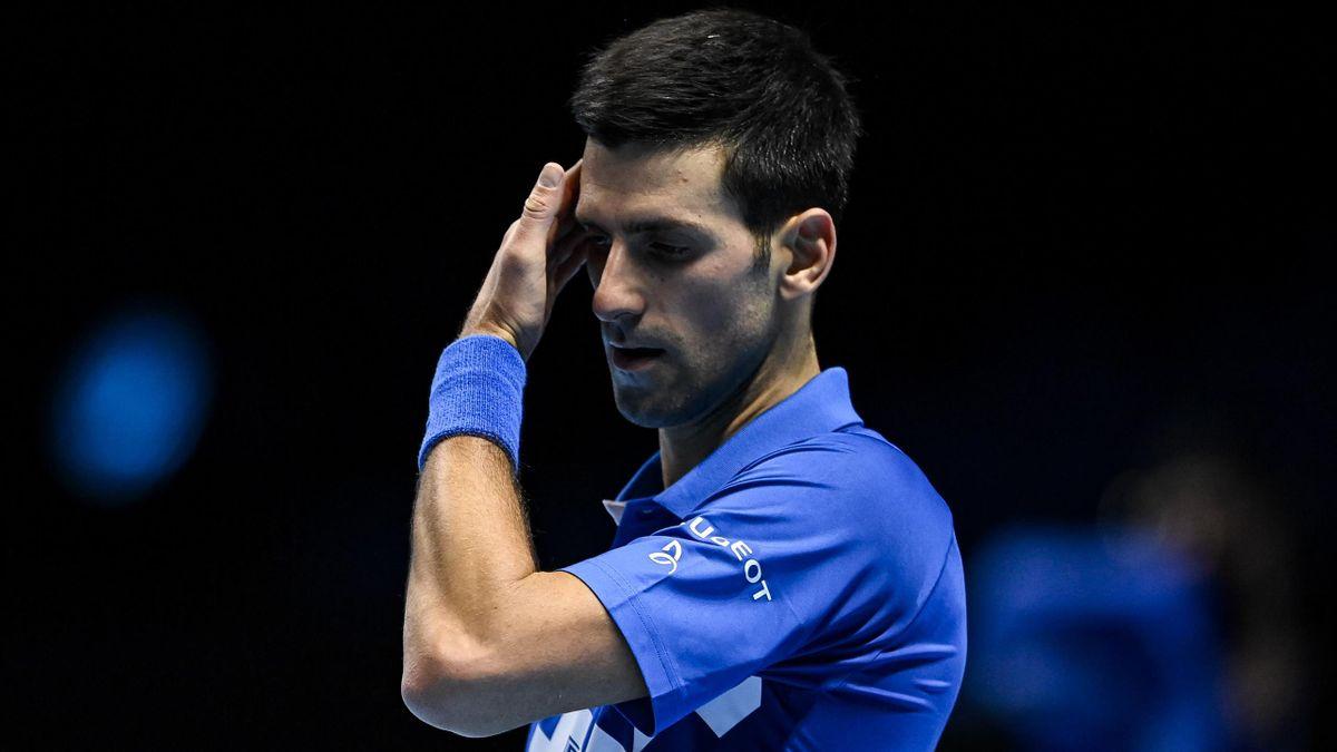 Novak Djokovic lors du Masters de Londres en 2020