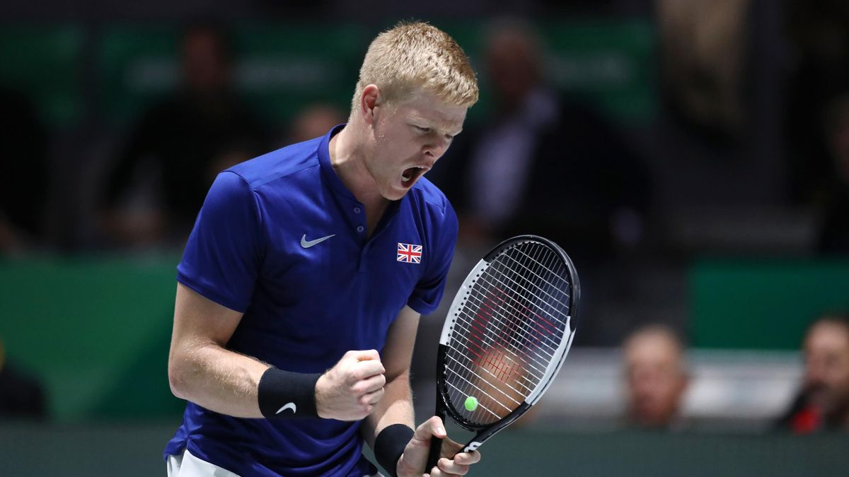 Kyle Edmund of Great Britain celebrates in his semi final singles match against Feliciano Lopez of Spain during Day 6 of the 2019 Davis Cup at La Caja Magica