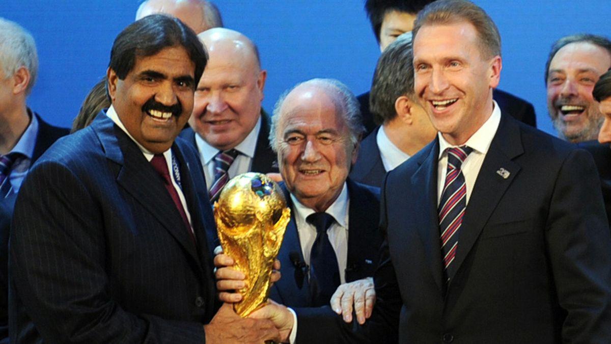 Sepp Blatter lors de l'obtention de la Coupe du monde 2022 au Qatar