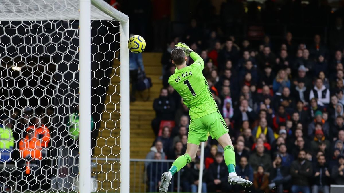 David De Gea of Manchester United fails to save a shot from Ismaila Sarr of Watford (not pictured) which results in the first goal for Watford scored by Ismaila Sarr of Watford during the Premier League match between Watford FC and Manchester United at Vi