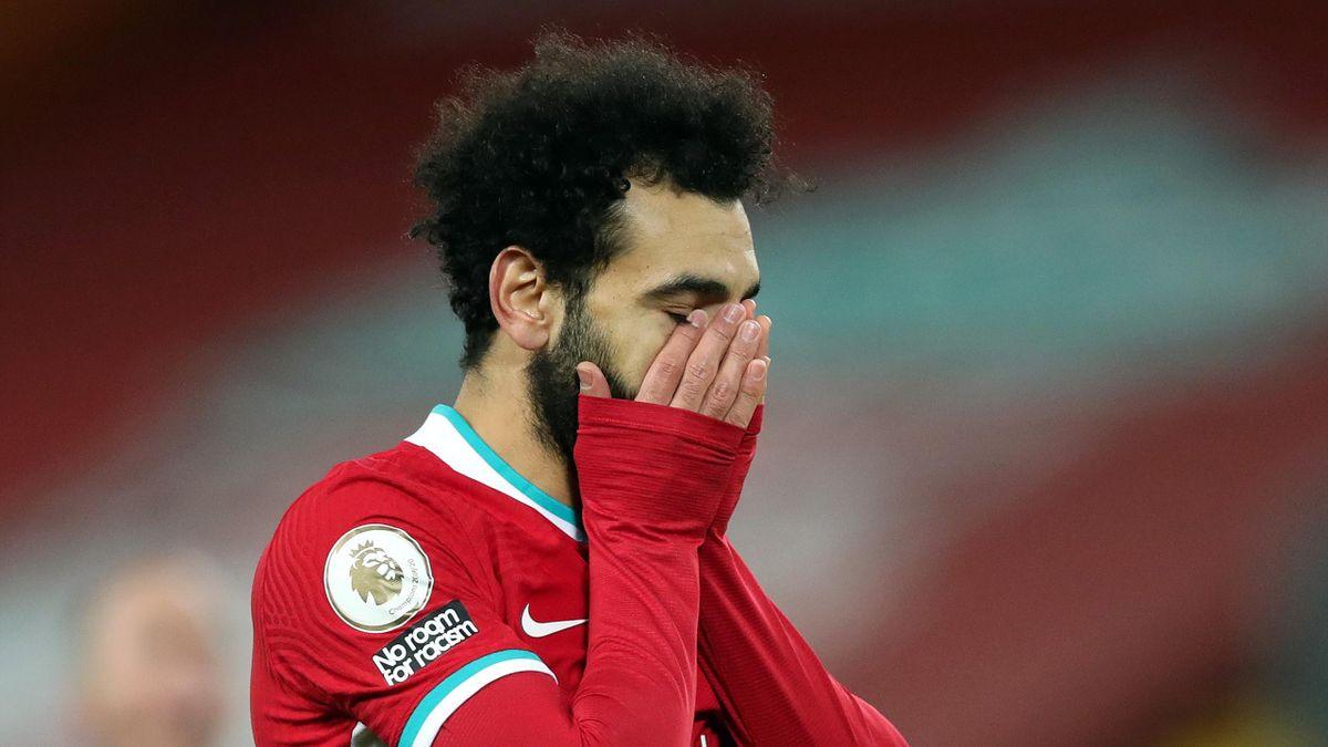 Mohamed Salah lors de la défaite de Liverpool face à Burnley