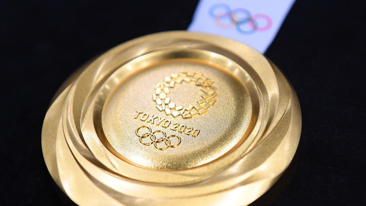 "The gold medal is displayed after the Tokyo 2020 medal design unveiling ceremony during Tokyo 2020 Olympic Games ""One Year To Go"" ceremony at Tokyo International Forum on July 24, 2019 in Tokyo, Japan"