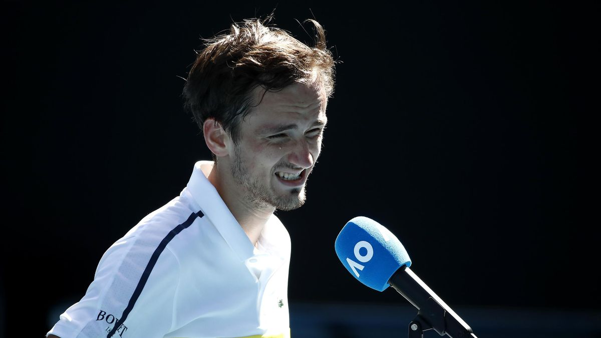 Daniil Medvedev of Russia is interviewed on court following victory in his Men's Singles third round match against Filip Krajinovic of Serbia during day six of the 2021 Australian Open at Melbourne Park