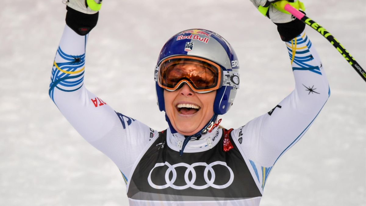 Lindsey Vonn reacts in the finish area during the Women's Downhill event of the 2019 FIS Alpine Ski World Championships at the National Arena in Are, Sweden