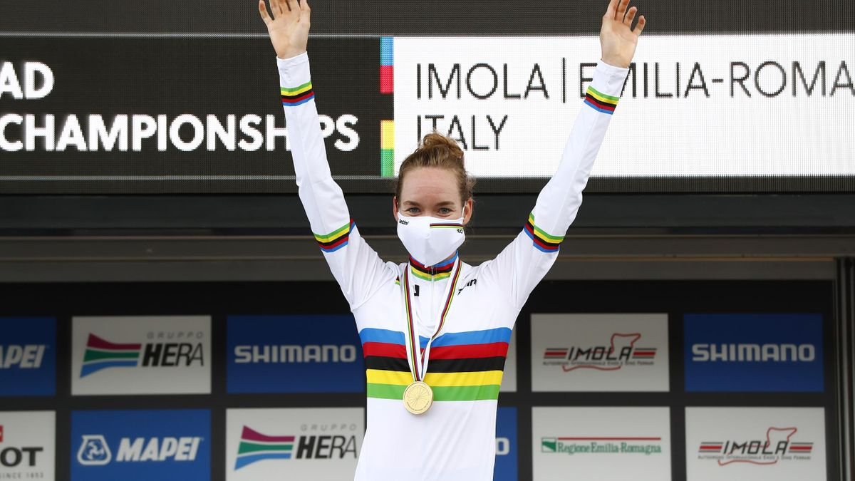 Anna Van Der Breggen of The Netherlands World Champion Jersey / Celebration / Mask / Covid safety measures / during the 93rd UCI Road World Championships 2020, Women Elite Individual Time Trial a 31,7km stage from Imola to Imola
