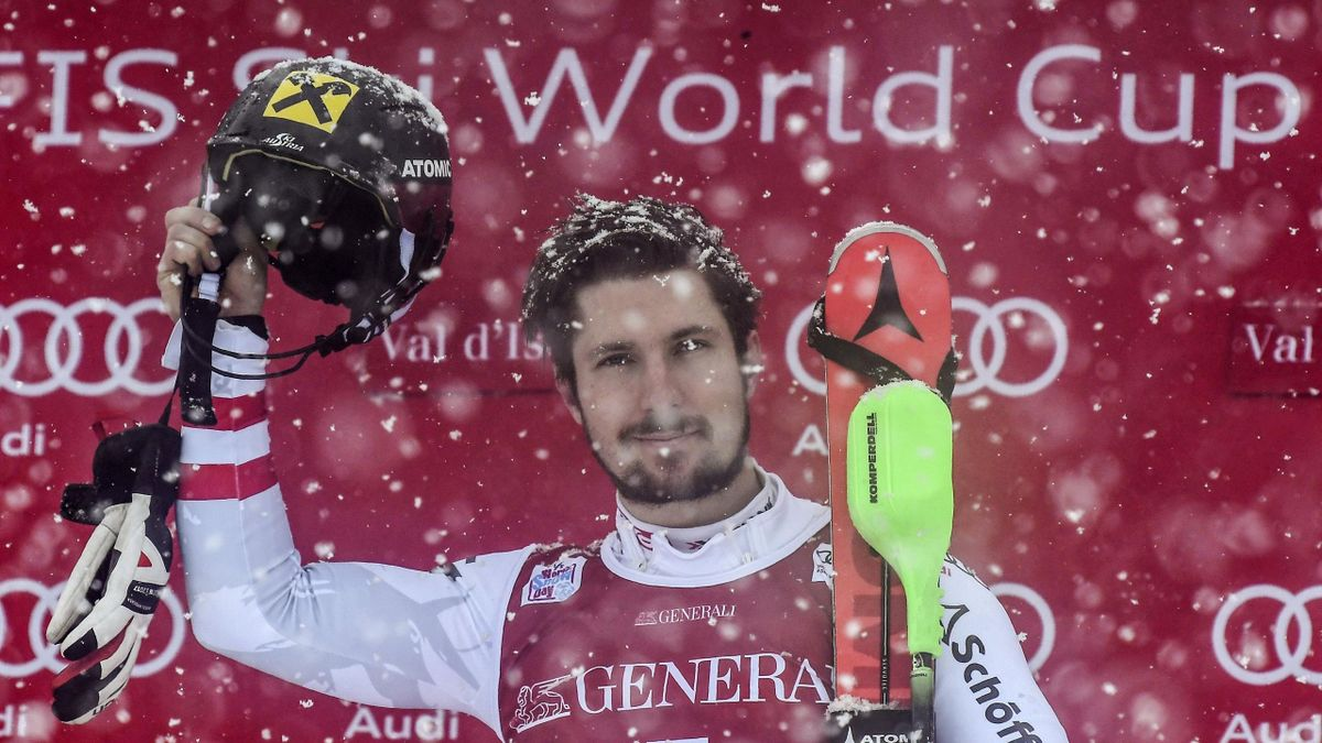 Winner Austria's Marcel Hirscher celebrates after winning the FIS Alpine World Cup Men Slalom on December 10, 2017 in Val d'Isere, in the French Alps.