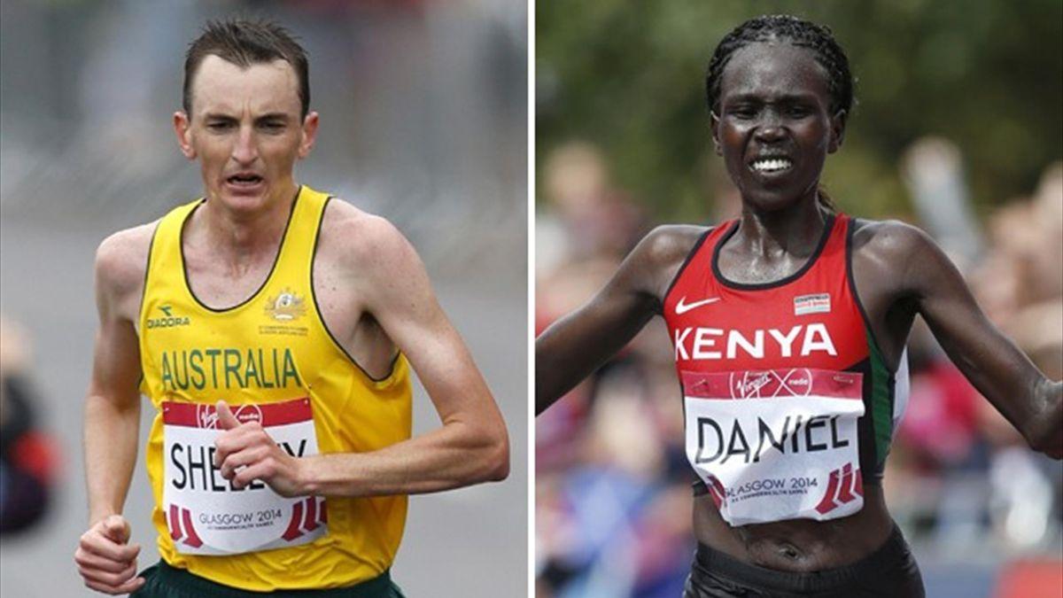 Australian Michael Shelley and Kenya's Flomena Cheyech Daniel took gold in the men's and women's marathons as the Commonwealth Games (Reuters)