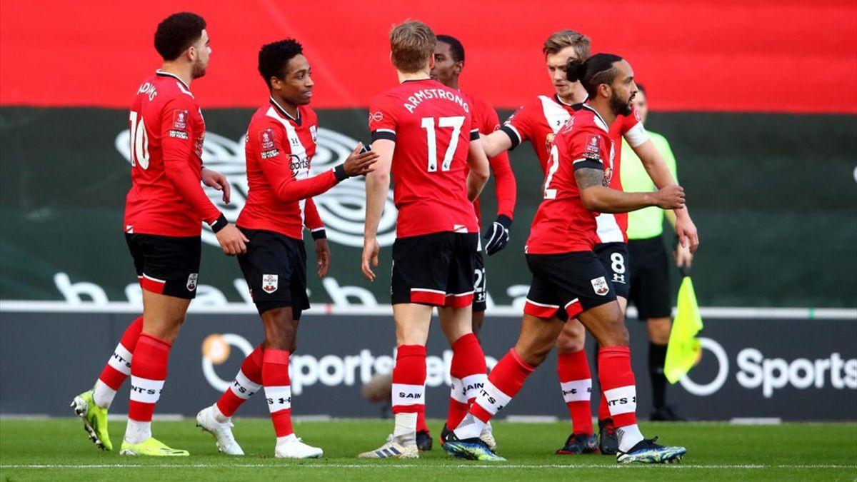 L'esultanza dei giocatori del Southampton - Southampton-Arsenal FA Cup 2020-21