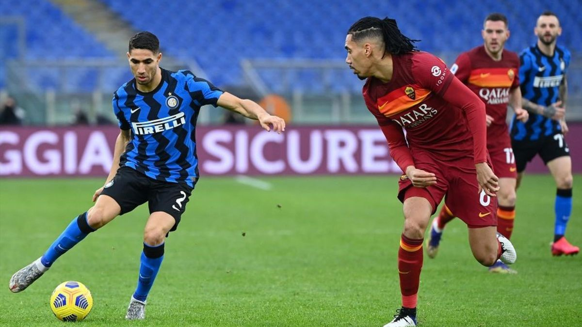 Achraf Hakimi e Chris Smalling - Roma-Inter Serie A 2020-21