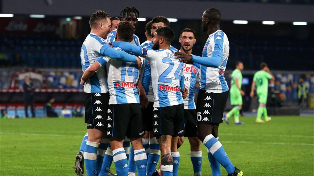 L'esultanza dei giocatori del Napoli - Napoli-Lazio Serie A 2020-21