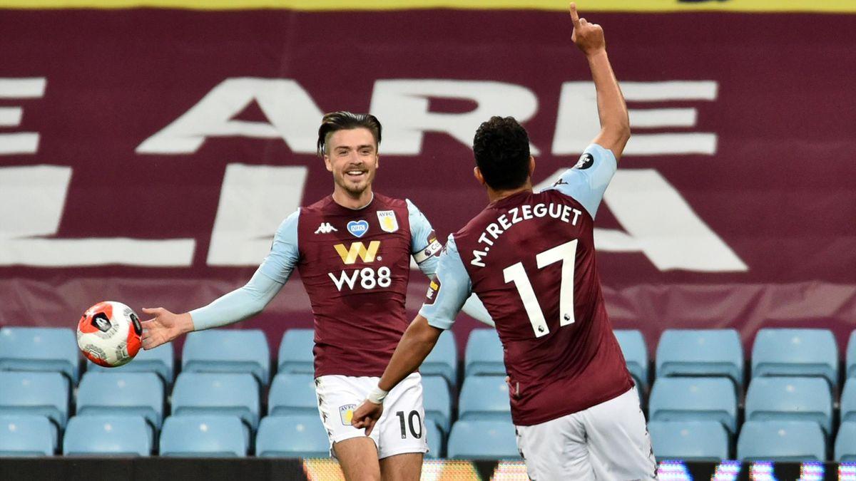 Trezeguet of Aston Villa celebrates after he scores his sides 1st goal during the Premier League match between Aston Villa and Arsenal FC at Villa Park