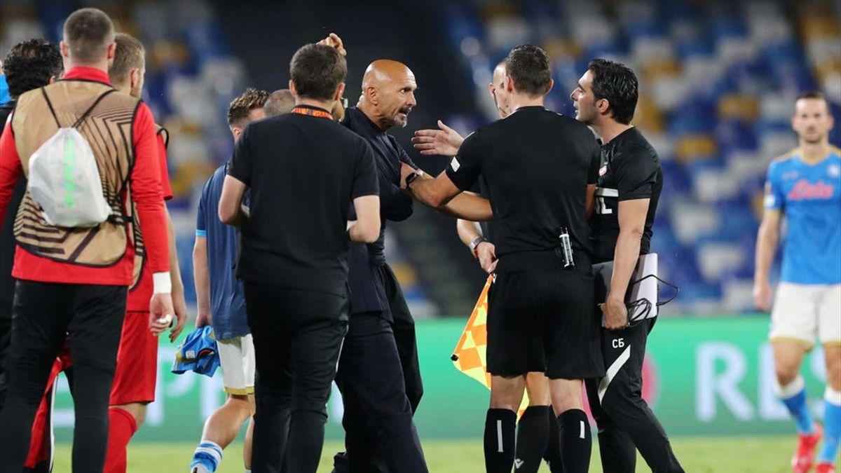Le proteste di Luciano Spalletti durante Napoli-Spartak Mosca - Europa League 2021/2022