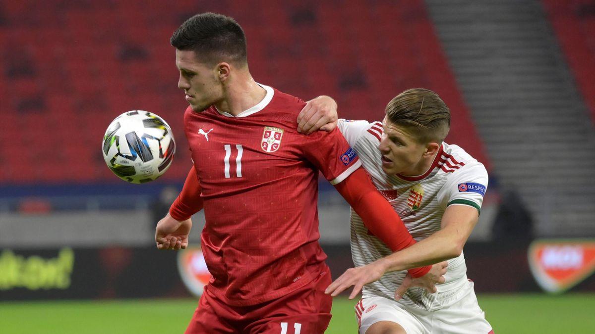 Luka Jovic (Serbia) and David Siger (Hungary) - UEFA Nations League