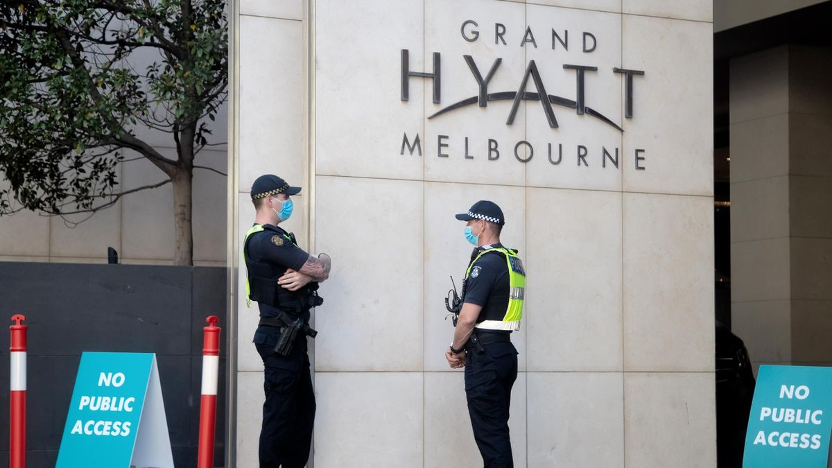 A General View of the Grand Hyatt as Victoria Police guard the entrance on January 21, 2021 in Melbourne Australia. Tennis players and support are currently in 14 days of quarantine after arriving in Melbourne on International flights, ahead of the 2021 A