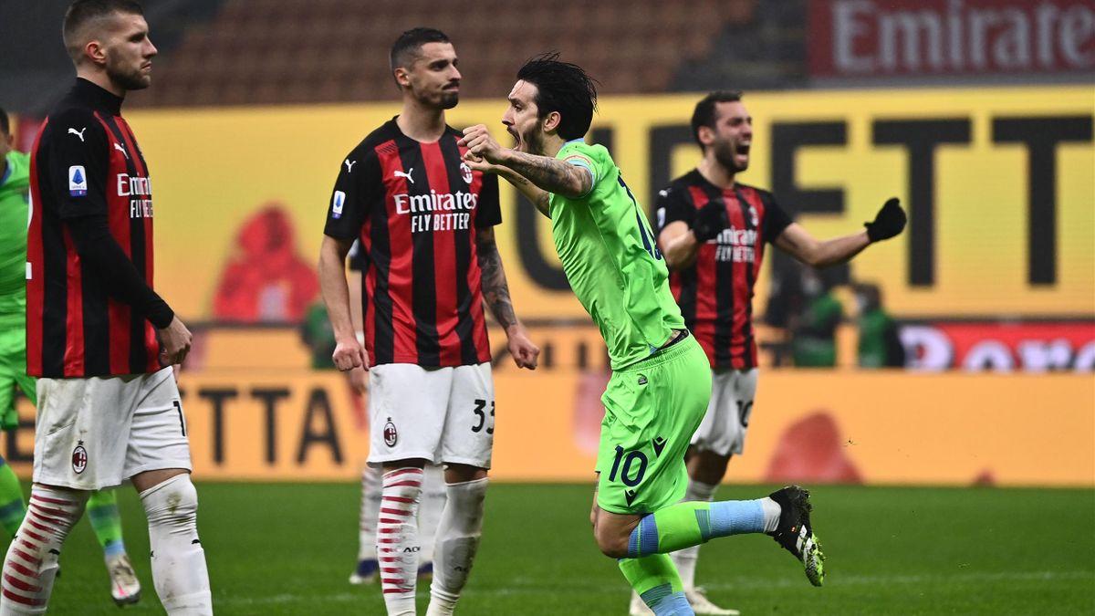 L'esultanza di Luis Alberto, Milan-Lazio, Getty Images