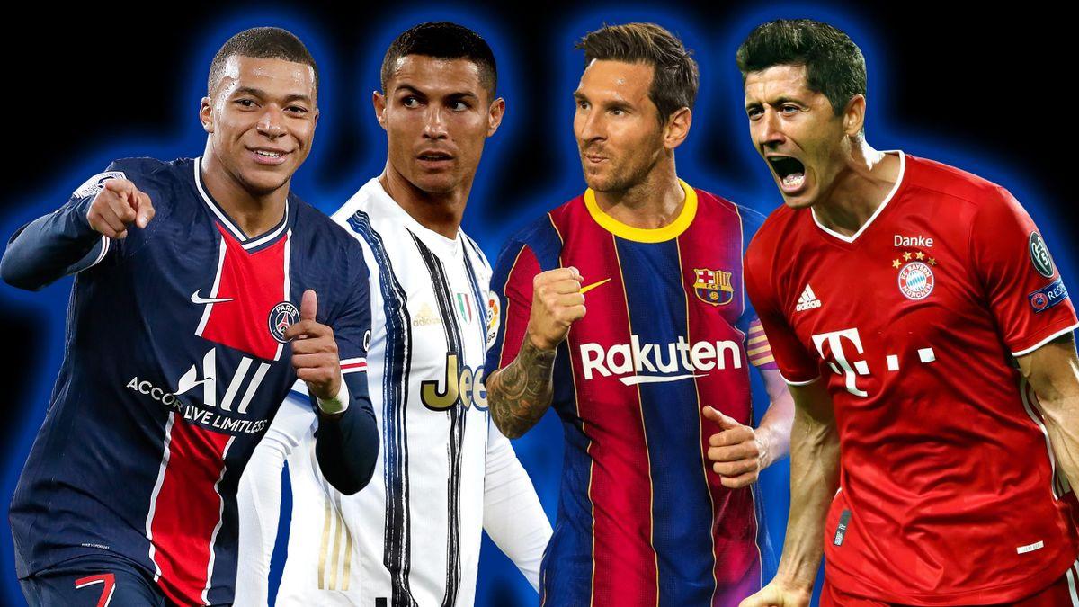Kylian Mbappé, Cristiano Ronaldo, Lionel Messi et Robert Lewandowski, quatre stars qui tenteront d'aider leur club à remporter la Ligue des champions en 2021.