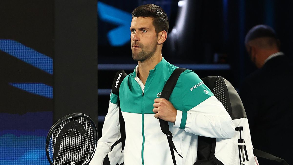 Novak Djokovic of Serbia walks onto Rod Laver Arena ahead of his Men's Singles fourth round match against Milos Raonic of Canada during day seven of the 2021 Australian Open at Melbourne Park