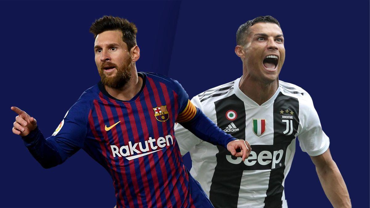 Lionel Messi sous le maillot du Barça et Cristiano Ronaldo sous celui de la Juventus.