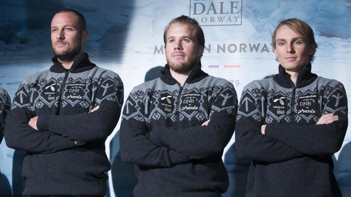Aksel Lund Svindal (f.v), Kjetil Jansrud og Henrik Kristoffersen på pressetreff i forbindelse med presentasjonen av OL-genseren med alpinlandslaget og langrennsløpere.